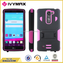 Kick stand design combo case for LG G4 mini C40 PC silicone cell phone case