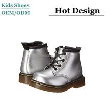 il nuovo arrivo oem argento metallizzato stivali di pelle bambini cowboy pioggia stivali in pizzo su