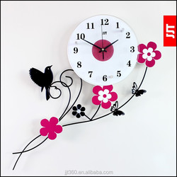 Newest design analog glass time wall clock wholesale garden bird clocks