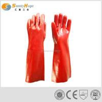 long red pvc coated gloves for chemical