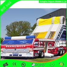Newest inflatable huge fire truck slide for sale
