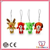 SEDEX Factory hot selling soft animal shaped custom made plush keychains
