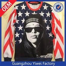 American style long sleeve men's digital printing t shirt
