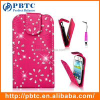 Set Screen Protector Stylus And Case For Samsung Galaxy Fame S6810 , Roseo Cute Leather Wallet Glitter Case