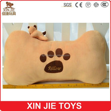 custom plush bone shape car cushion and pillow