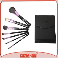 Professional 7 Pcs Natural Cosmetic Animal Hair Make Up Brushes Set Kit & Pouch