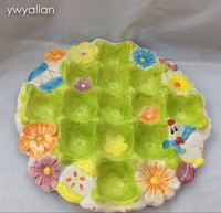 stock ceramic round shape easter chicken plate with egg cup