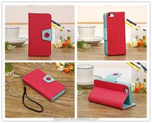 magnetic cover casing for iPhone 5s wallet stand leather cover with card slots from China