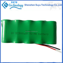 sc rechargeable battery pack 6v nimh 3000mah ni-mh sc 1800mah battery