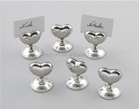 200pcs Silver Heart Design Chrome Place Card Holders Party Supplies Wedding favors and gift DHL Freeshipping