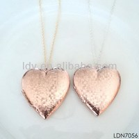 Gold jewelry made in China new design lover' necklace rose gold long chain lover's heart pendant necklace