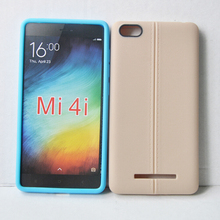 MI4013 Double Line Leather Skin TPU Phone Case for Xiaomi MI4 , Cell Phone Case Cover
