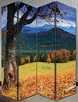 4 pieces canvas screens autumn natural landscape room divider SMALL MOQ