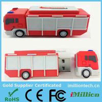 Customer's designer for pvc usb flash drives fire truck 3D logo
