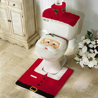 New Christmas Gift Best Happy Santa Toilet Seat Cover & Rug Bathroom Set wholesale christmas decorations