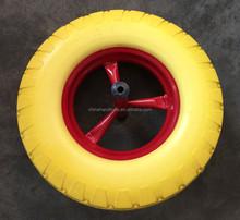 16 inch 400-8 solid wheel barrow tyre with axle PU foam rubber wheel
