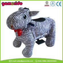 AT0616 coin operated animal zeebra kids ride on electric zebra cars toy for wholesale amusemet park