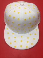 white baseball cap with full moon embroidery