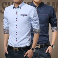 Men long sleeve shirt men of new fund of 2015 autumn color matching long sleeve
