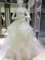 2015 hot sell on alibaba lace up sleeveless lace O- neck royal train floor-length ball gown Wedding Dresses 0012