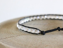 Transparency Crystal Weave Tribal Bracelet, Leather Boho Beaded Bracelet ,Gypsy Bracelet Women's Accessory