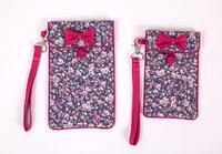 factory unique design bowknot customize elegant fabric phone bag original design T/R fabric plaid style mobile phone case