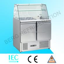 High quality salad bar refrigerator stainless steel bar top fridge custom mini fridge
