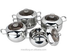 Fast heat conduction belly shape cookware set/ 9 pcs stockpots/ steamer pots