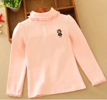 d10161b Cotton long Sleeve baby kids t shirts lace Lycra cotton Turtleneck t Shirt thickening children bottoming shirt