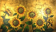 large framed sunflower oil painting with gold leaf