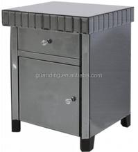 Smoked black Beside Table,/1 door mirrored chest