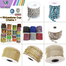 Various sizes Rhinestone Cup Chains with colorful stones for Garments accessory
