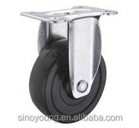 Medium duty hard rubber fixed caster