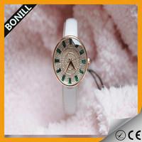 Luxury Mens Diamond Watch Genuine Leather watch