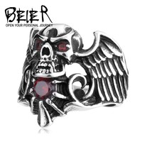 New punk fashion Designed Winged Skull Cubic zirconia Ring With Stone Men's Biker Ring US Size BR8-163