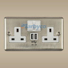 SCU1302BC(B)--5V 2A Double USB Wall Metal Chrome Socket UK Style 250V 13A with Switch India Singapore Malaysia Yemen Zimbabwe
