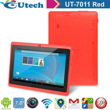 7inch Tablet android 4.2 two core1.5ghz built 4G rom 512MB ram TF 5MP G sensor 3D WIFI font Single camera Red color