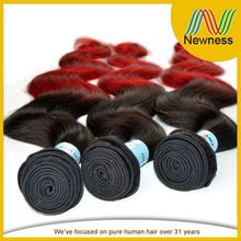 Two tone color 1B and red cheapest hair weft low price