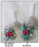 Decorative Hanging Glass Bell with Chirstmas fruits