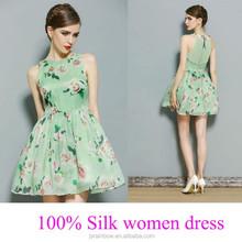 best quality green full print flowers women thai silk evening dress wholesale
