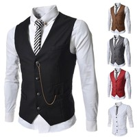New casual slim fit Mens Casual all- match Suit V-necked Vests M-XXL