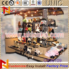 Top toy display kiosk with wood material Toy booth display kiosk counter design