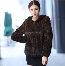 knitted natural black /brown mink fur jackets/coats