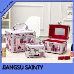 3 in 1 set small vanity jewelry box, vanity classic train case