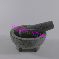 Stone Molcajete Mortar and Pestle/Natural Granite Grinder Crushing Grinding Food, Herb, Pharmacy