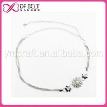 2015 girl fancy silver metal chain belt with flower