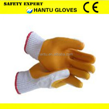 yellow rubber palm gloves/working safety gloves
