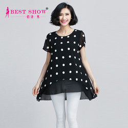 2015 New Design Chiffon Ladies Blouse White Polka Dot o-Neck Black Pretty Woman Clothing Imported From China Wholesale 1538