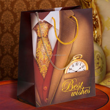 """Paper gift bag with chain """"Best Wishes!"""", size MS"""