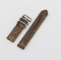 22mm Handmade Vintage Nato Zulu 2-piece Leather cuff Watch Band with Blasted brush buckle